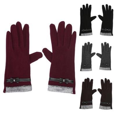 7dce6cf5eda82b Frauen berühren Bildschirm Fäustlinge Schafe Wolle Winter Bowknot Handschuh  (schwarz)