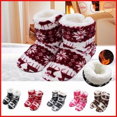 Unisex Home Christmas Elk Slippers Winter Indoor Shoes Warm Contton Slipper Plush