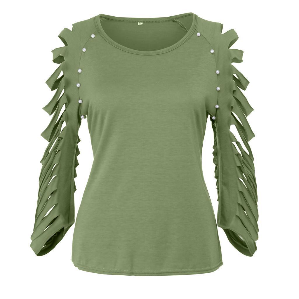LAPA Women Ruffle Long Sleeve Shirt Top Ladies Plain V Neck Party Blouse T-shirt