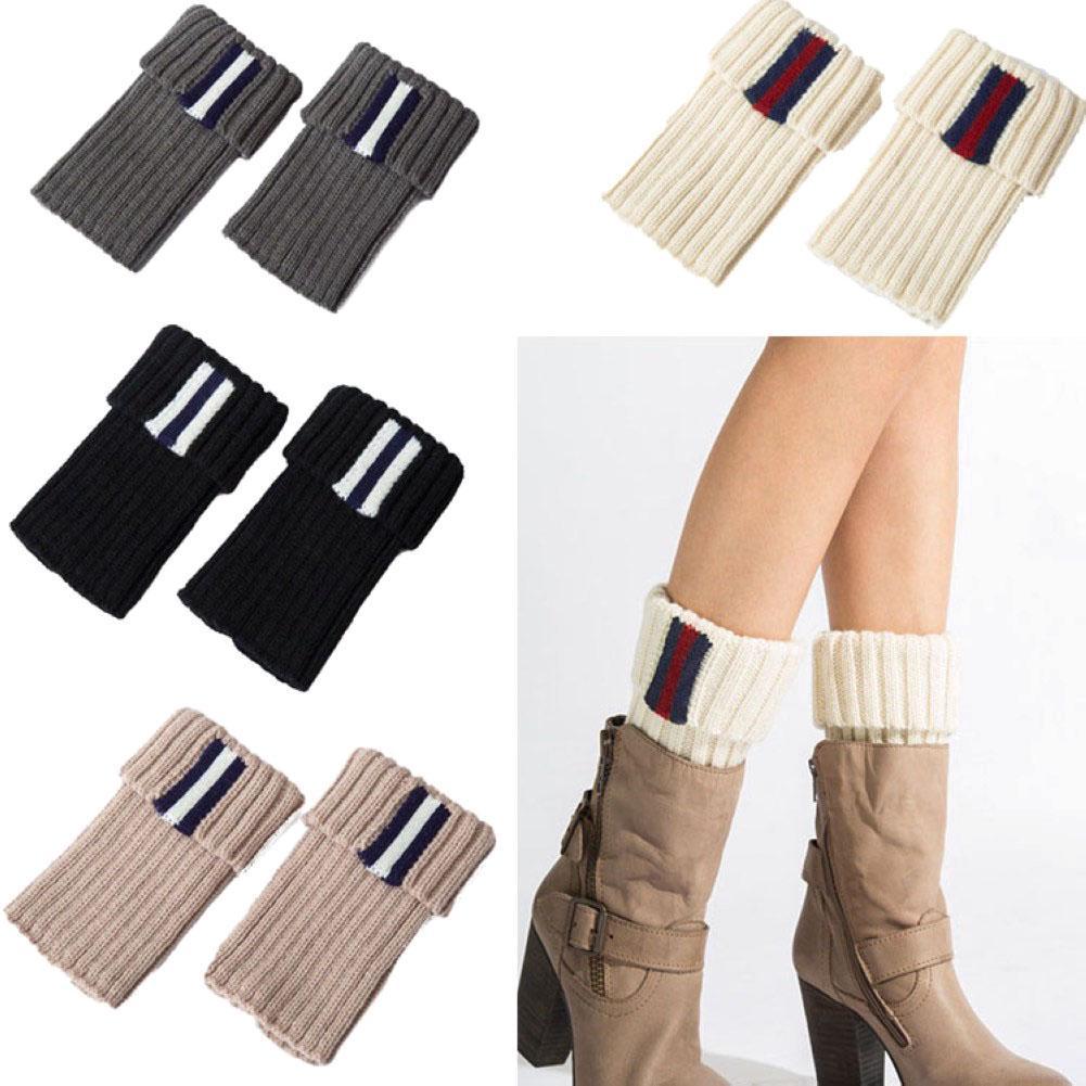 Las mujeres invierno punto arranque puños a rayas Topper calcetín ...