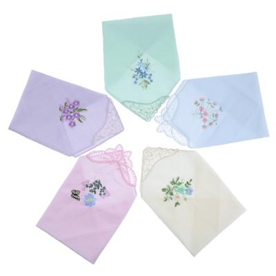 12X Womens Beauty Floral Printed Handkerchief Wendding Party Cotton Blend Hanky