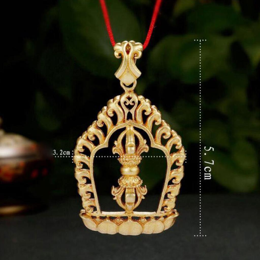 Adjustable Tibetan Buddhism Vajra Symbol Necklace Vintage Charm Necklace Jewelry Buddhist Rear View Mirror Charm Meditation Car Charm