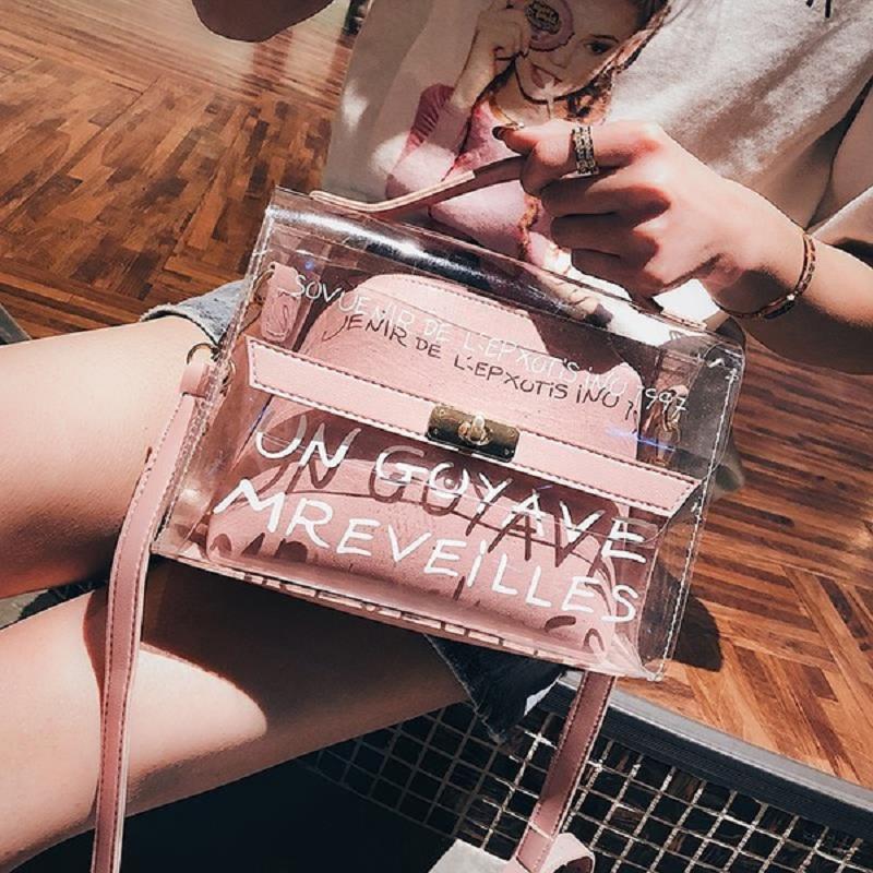 Женская мода прозрачный мешок Clear сумочка ПВХ Totes дамы плечо Сумки – купить по низким ценам в интернет-магазине Joom