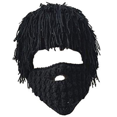7d4e090bef9 Unisex Knit Bearded Hat Handmade Wig Winter Warm Ski Mask Beanie Kids Black