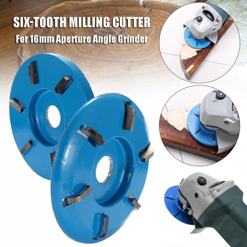 Alloy Flat 6 Tooth Wood Carving Plane Disc Milling Cutter For 22mm Angle Grinde