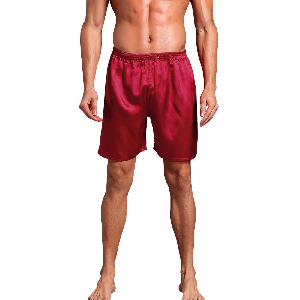 Hombres s ropa de dormir ropa interior Calzoncillos satén seda ropa ... 851340db203f