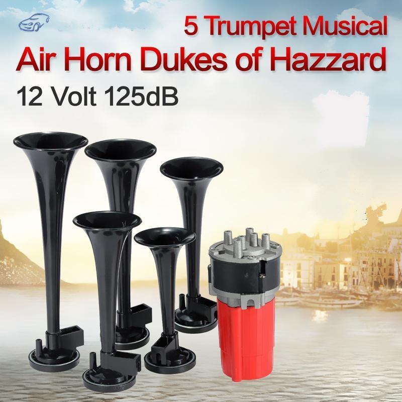 Voiture Klaxon 125dB 12V Super Fort Trumpet Air Horn Compresseur pour Truck Camion Bateau Rouge