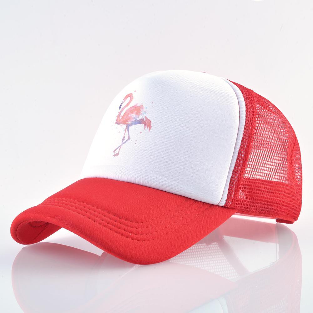 Бейсбол летних Cap женщин воздухопроницаемой сеткой Snapback хип хоп Hat случайные печати фламинго водитель грузовика шляпа фото