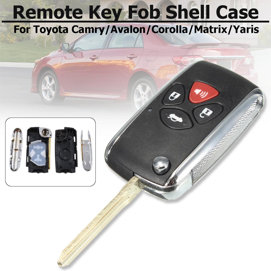 2 Buttons Uncut Blade Remote Key Case Shell Fob Shell Fit for Toyota Yaris 2009