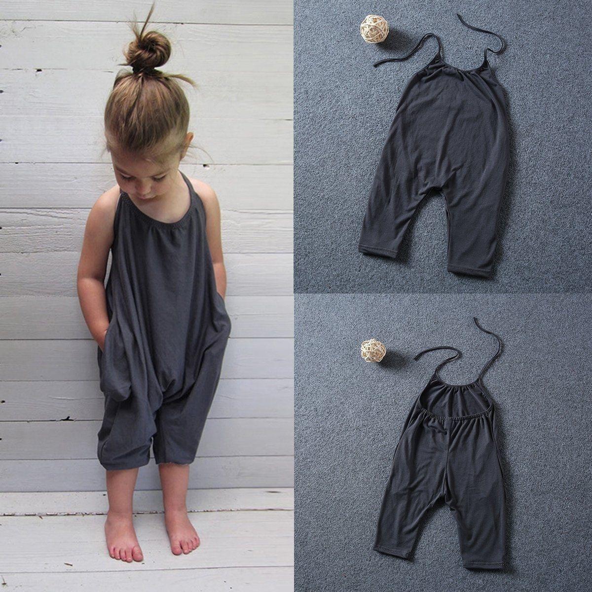 女童夏款哈衣吊带露背连体衣
