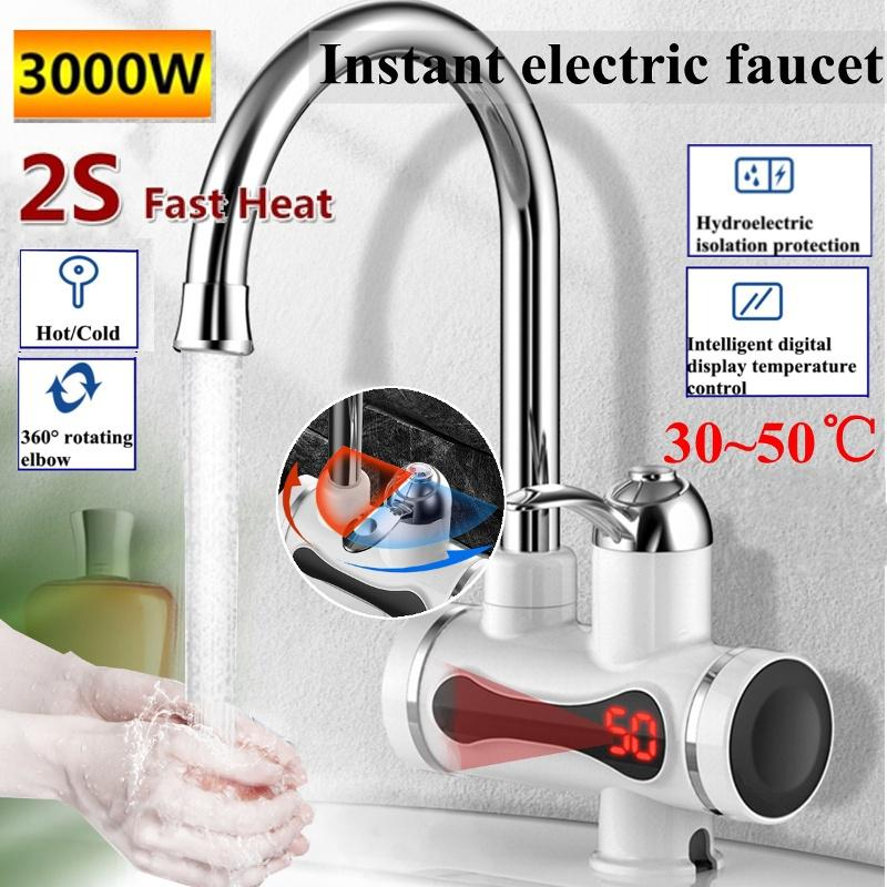 220V Instant Faucet Electric Water Heater 3000W LED Display Kitchen