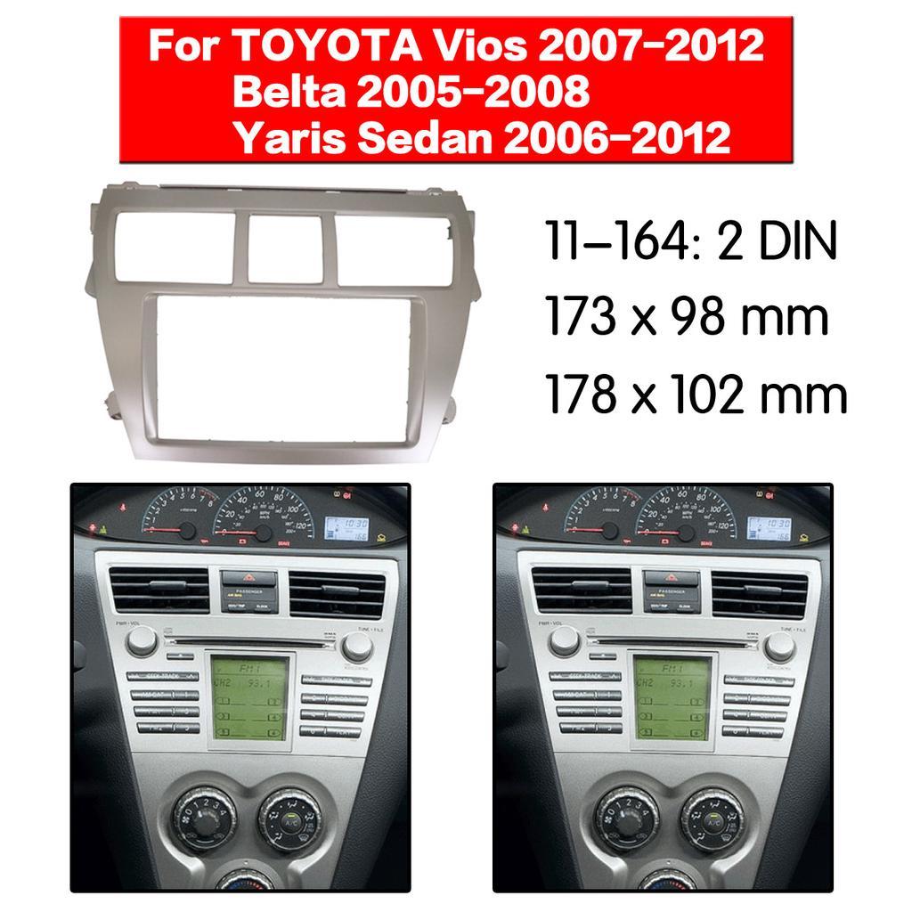 Silver Car Stereo Fascia Radio Frame Panel For TOYOTA Vios Belta Yaris Sedan