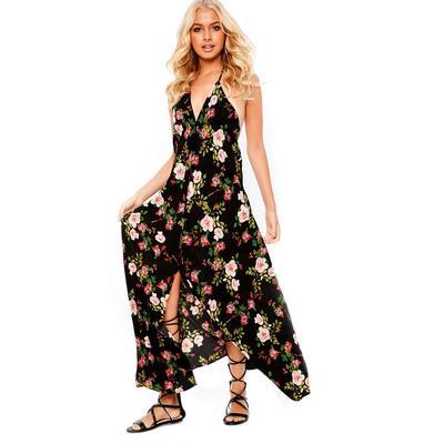 2094b490 Styl uliczny Leisure Floral Women Sexy Maxi Sukienki Elegancka sukienka z  czeskim dekoltem w dekolt
