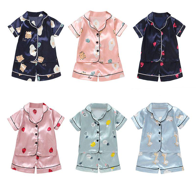 Children/'s wear grils pajamas set cotton sleepwear Short sleeve Breathable Home