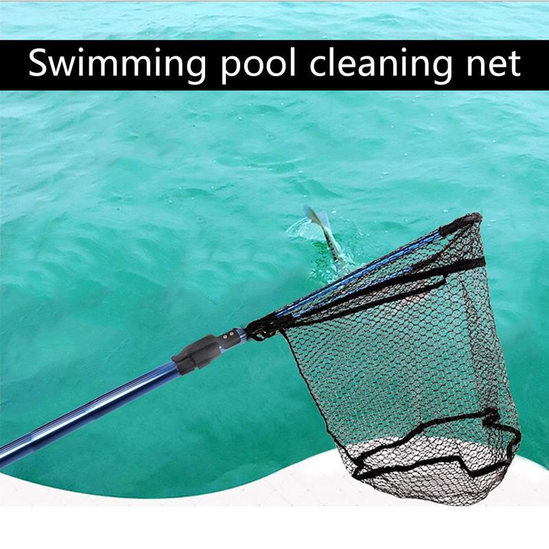 Shrink Folding Stainless Steel Handle Swimming Pool Fishing Net Encrypted  Deep Water Leaf Fish Pond