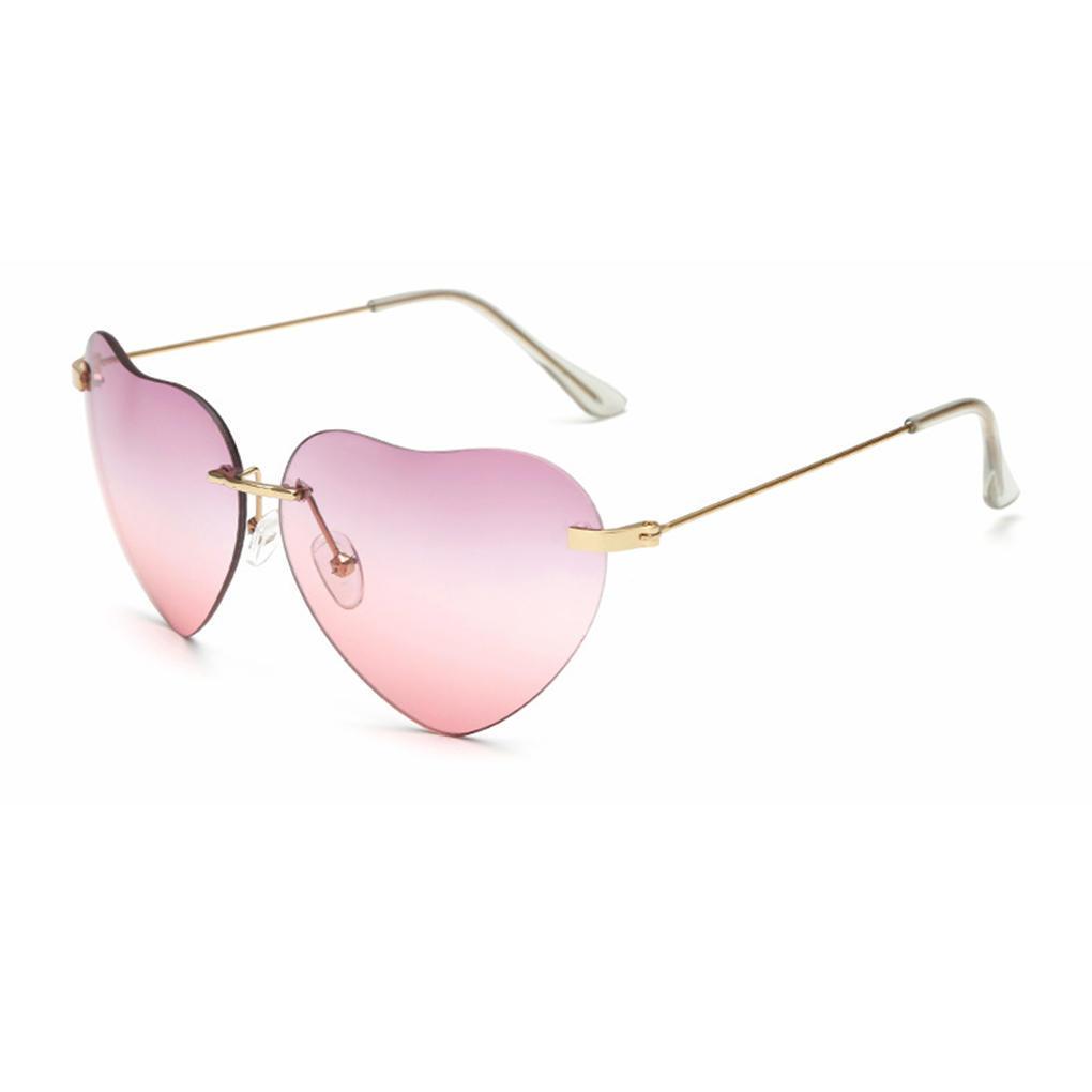 Corazón forma Color lentes degradado marco sin montura gafas de sol ...
