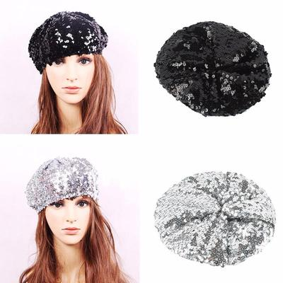 b0e0a6221598a Lady Stretch Metallic Shining Sequin Beret Hat Party Beanie Cap Club Dance  IN Stock