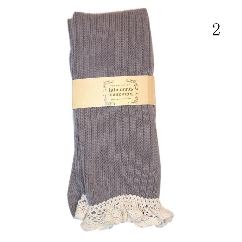 Mujeres Crochet encaje hasta las rodillas calcetines algodón ajuste ...