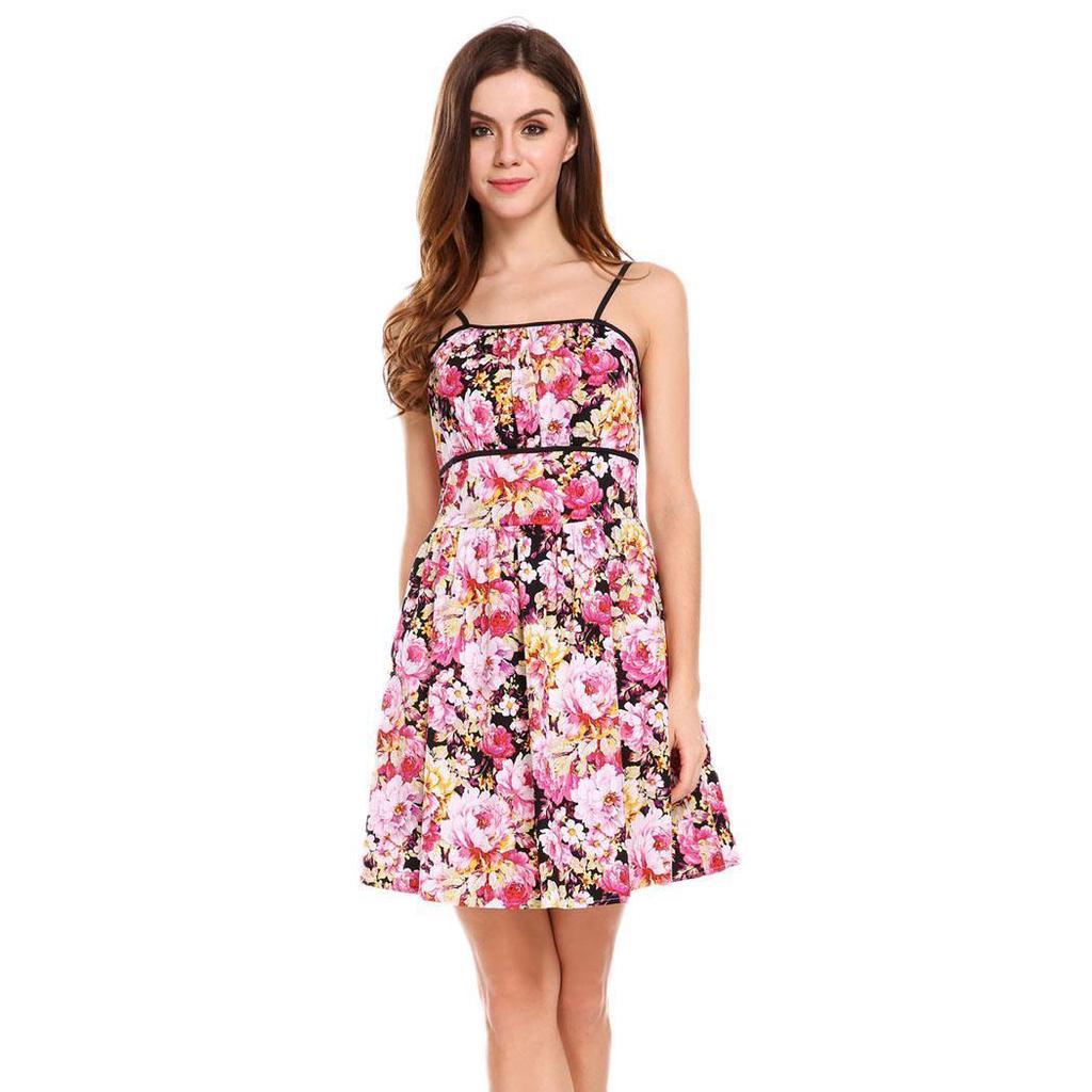 Las mujeres sin mangas fruncido vestido Mini busto forma Floral y ...