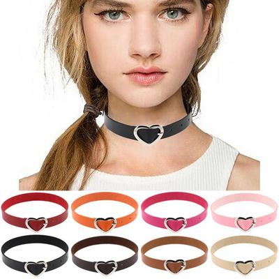 Womens Ladies Punk Goth Leather Rivet Heart Chain Collar Choker Funky Necklace