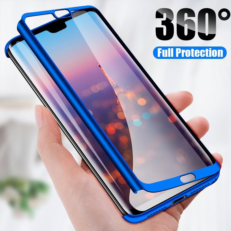 Funda para Huawei Honor 8A 360 ° 3 en 1 Frente De Vidrio Cuerpo Completo trasera dura Cubierta Teléfono