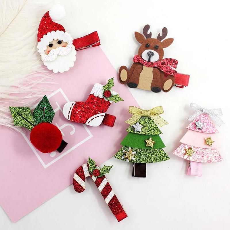 5Pcs//Set Christmas Hair Bow Glitter Snowman Elk Cartoon Hair Clips for Girls