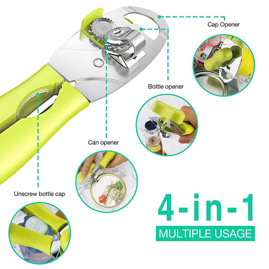 4IN1 Ergonomic Can Opener Manual Smooth Edge Stainless Steel Heavy Duty Tin