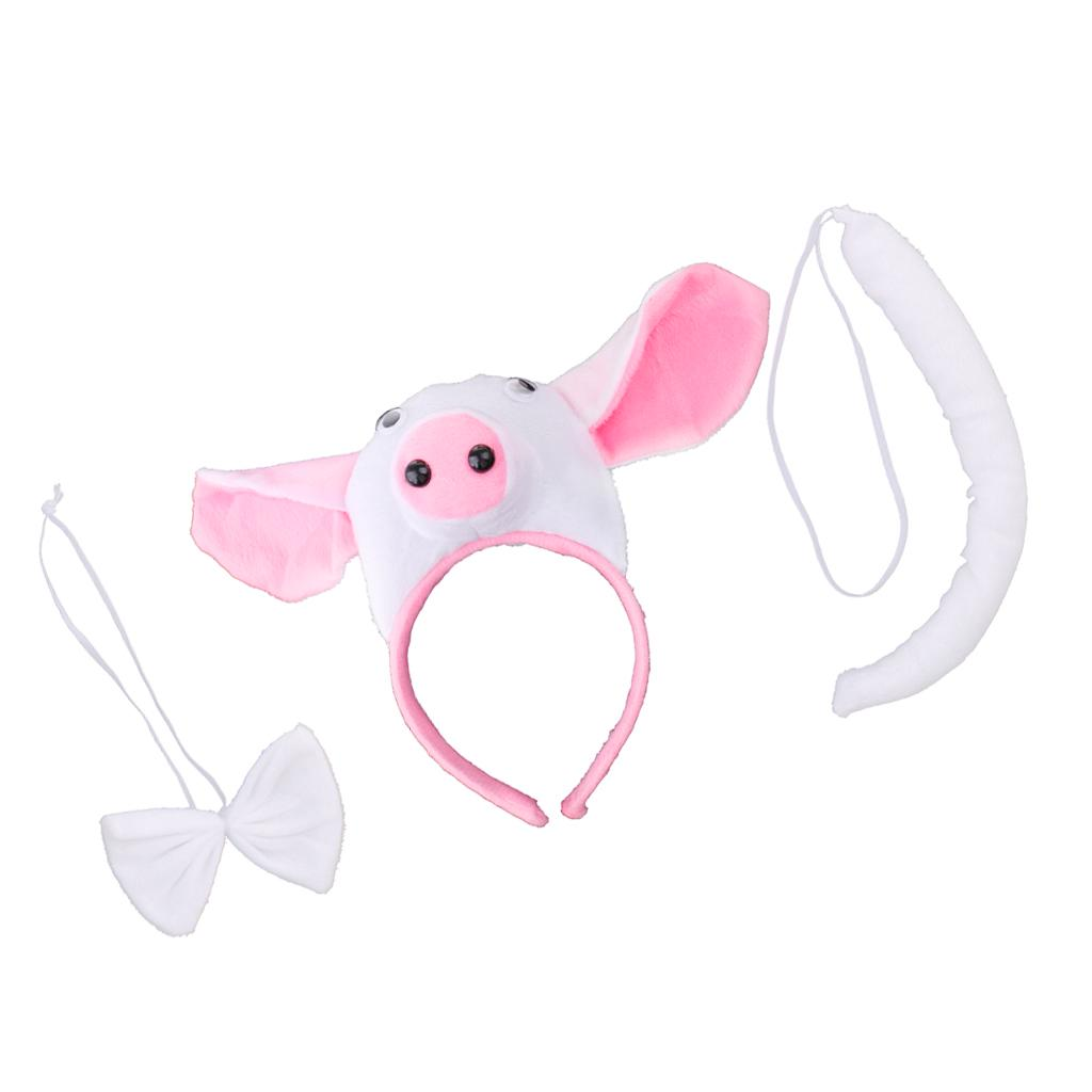 Kids Animal Pig Piggy Costume Kit Head Band Bow Tie Tail Fancy Dress Props