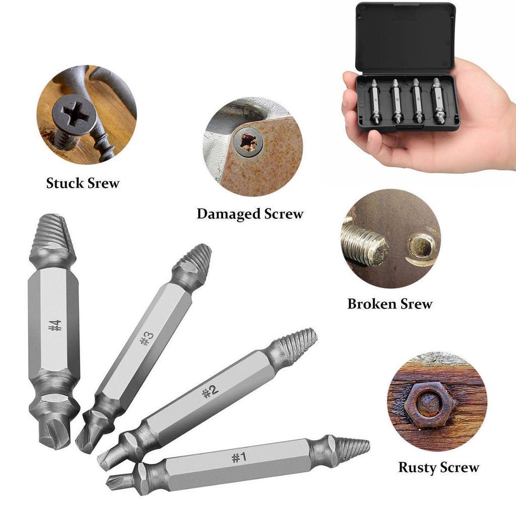 5pcs Damaged Screw Extractor Remover Drill Bit Broken Bolt Reverse Stud