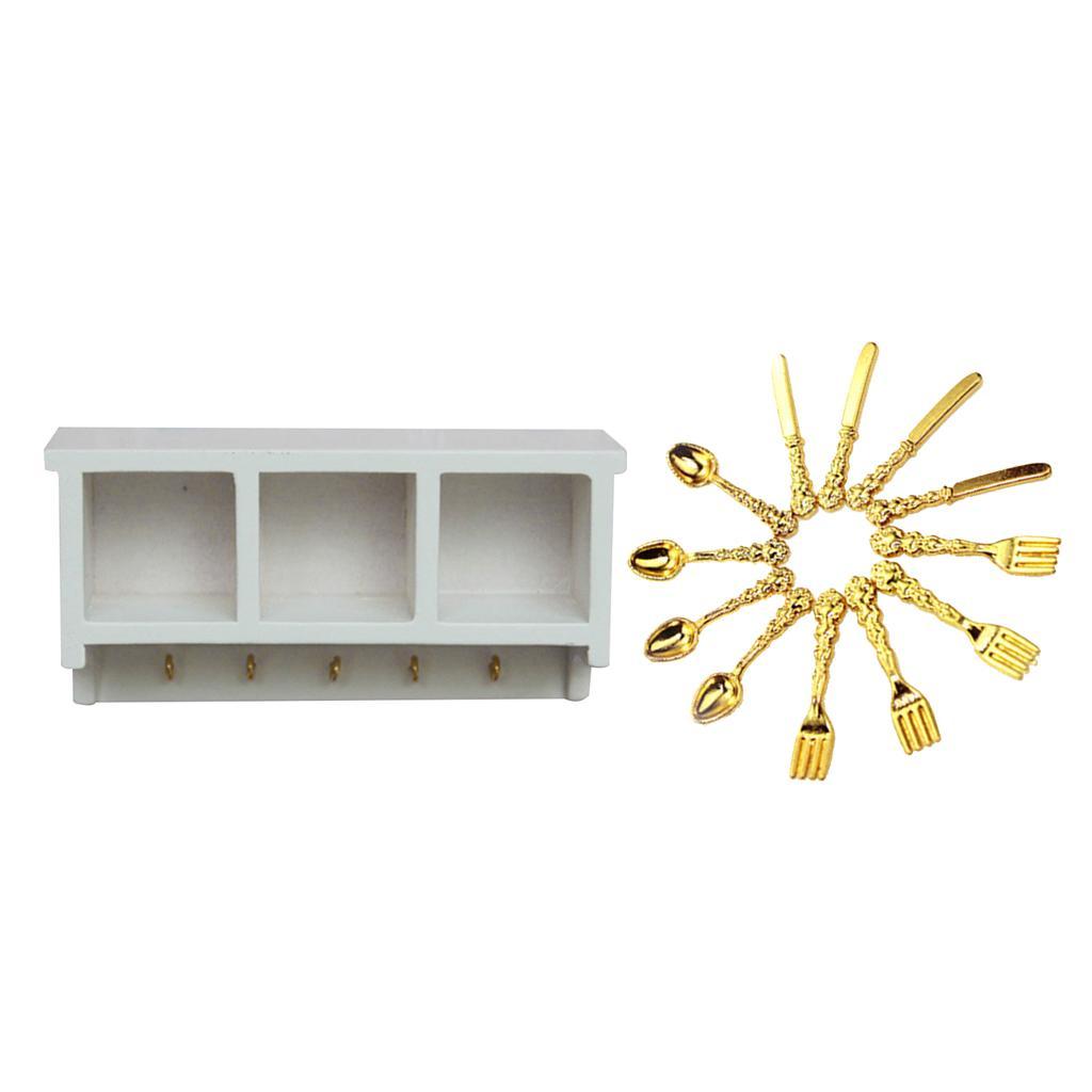 1//12th Miniatures White Metal Storage Shelf Wine Rack for Dollhouse Kitchen