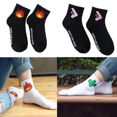 Soft Unique Men Women Short Ankle Socks Cute Alphabet Cotton Warm-Socks