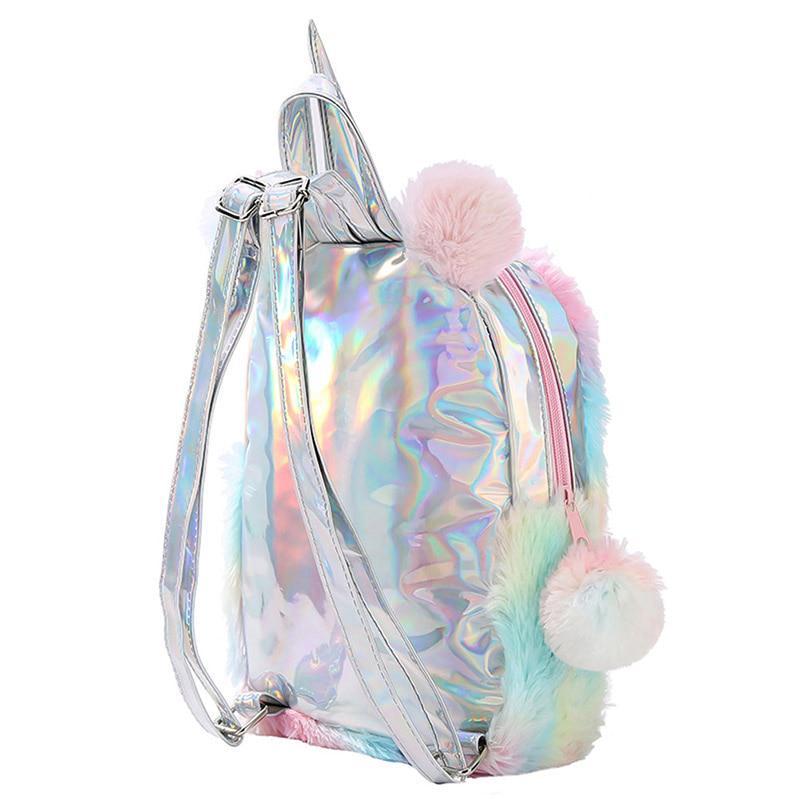 Cute Women Girls Fluffy Unicorn Backpack Plush School Rucksack Zipper Bag