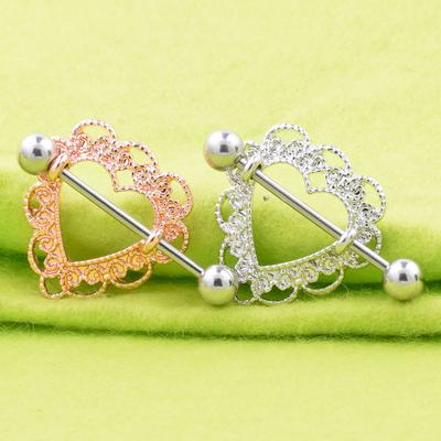 2 Pair Stainless Steel Love Heart Nipple Shield Ring Bar Body Piercing 14G