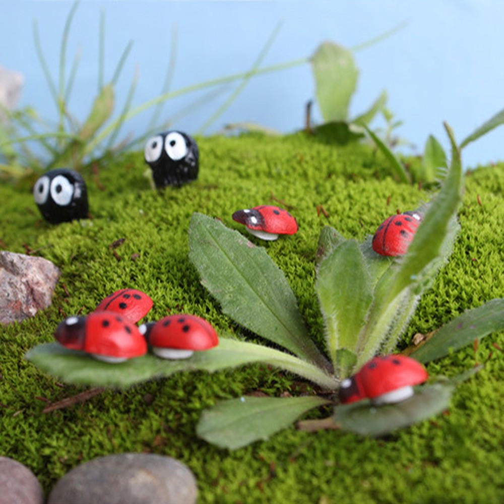 Garden Ornaments 100Pcs Miniature Ladybird Ladybug Garden Ornament Figurine Fairy Dollhouse Decor