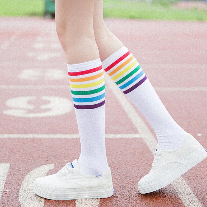 1Pair Trend Rainbow Stripes Long Paragraph Long Thin Over Knee Legs Lady Socks