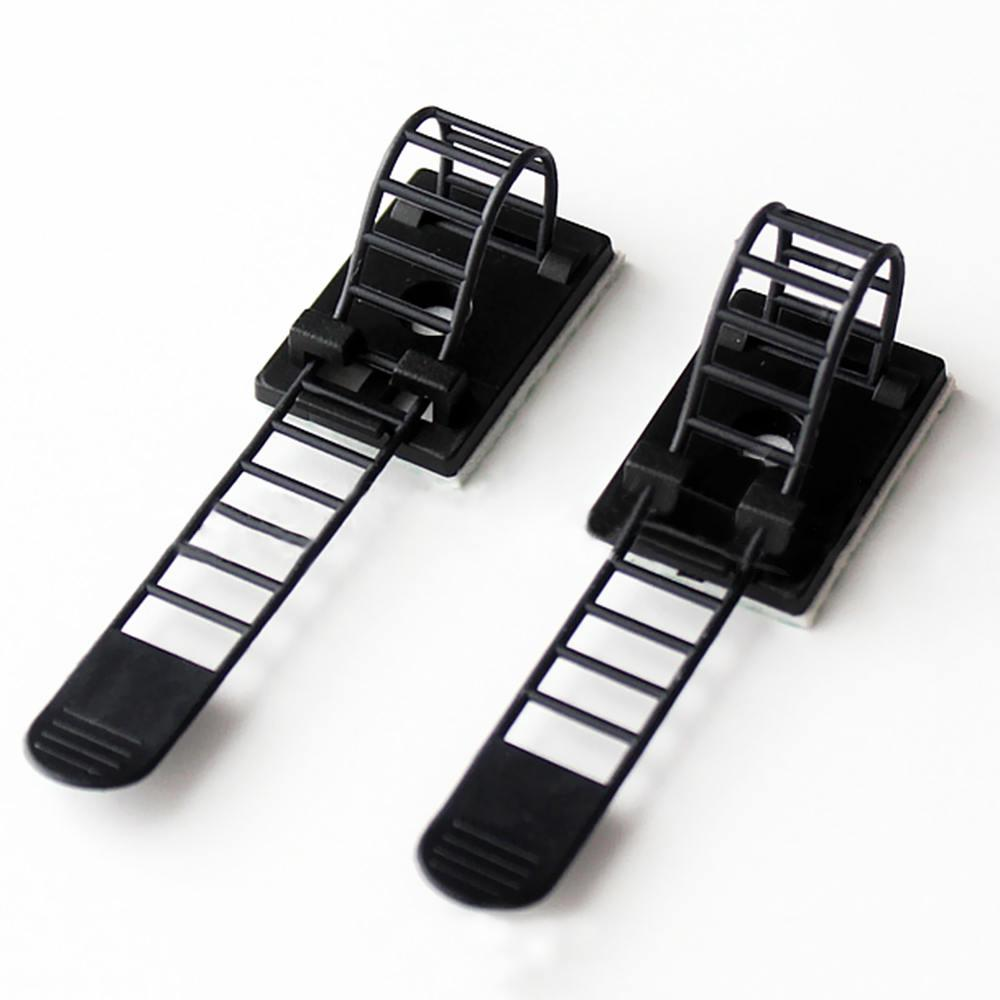 25x Adjustable Adhesive Cable Straps Cord Management Tie Mount Clips 1.0