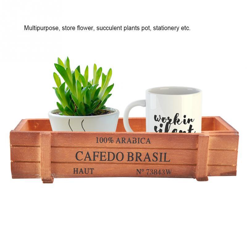 Vintage Small Flower Pots Box Wooden Succulent Plant Flowerpot Home Garden Decor