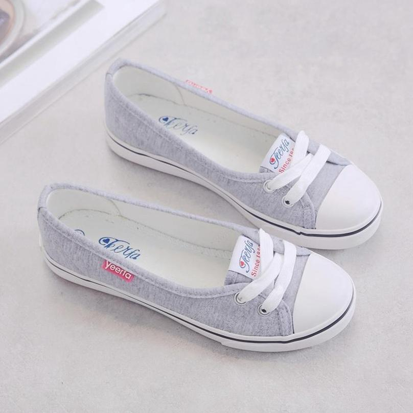 Woman Boat Shoes Canvas Slip On Flats.