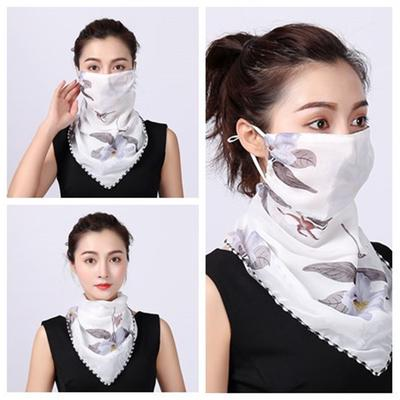 Face Mask Summer Ladies Floral Print Anti-Uv Dust-Proof Scarf Outdoor Sports Cycling Mask