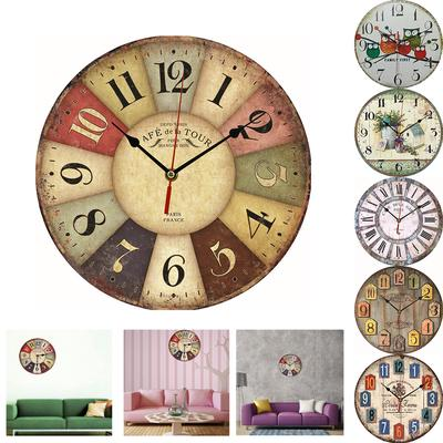 New Wall Giant Wall Clock Colorful Retro Vintage Rustic Wooden Home Round Face