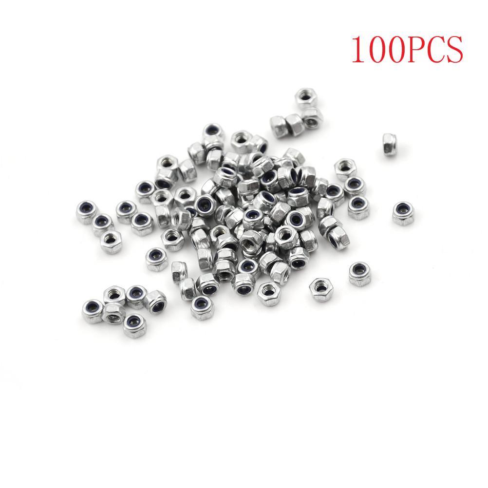 100pcs M3 x 0.5mm Stainless Steel Hex Nylon Lock Nuts Threaded Fasteners Kit Set