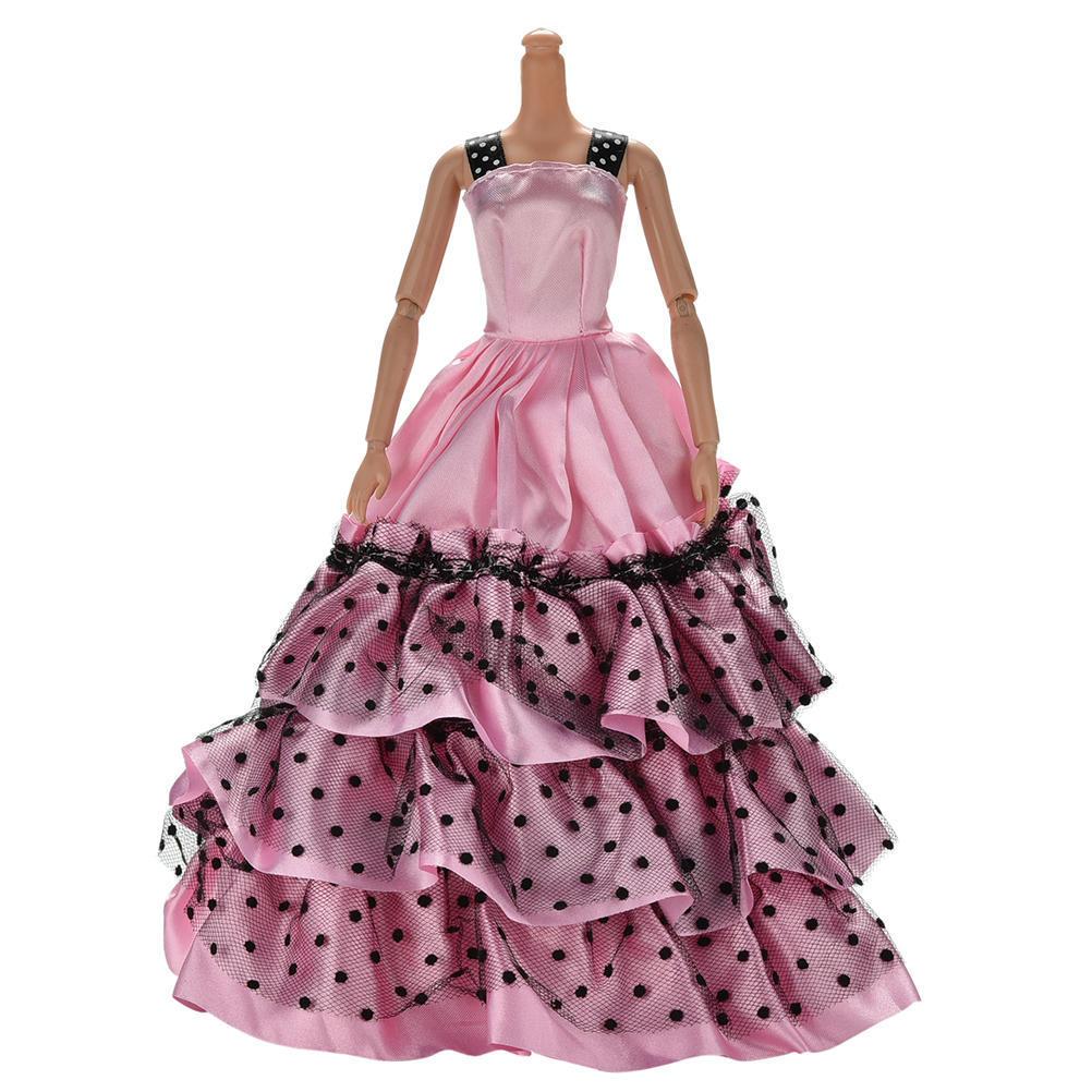Vestido de novia para Barbies muñeca hermosa final falda lunares ...