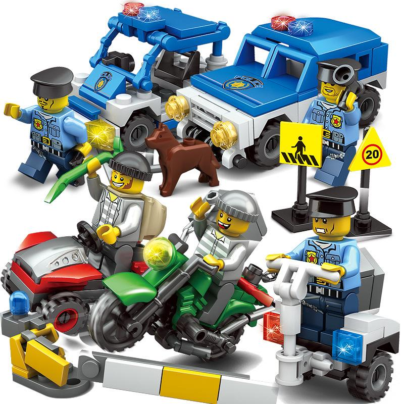 Plastic Children Kid Puzzle Educational Building Blocks Bricks Forest police