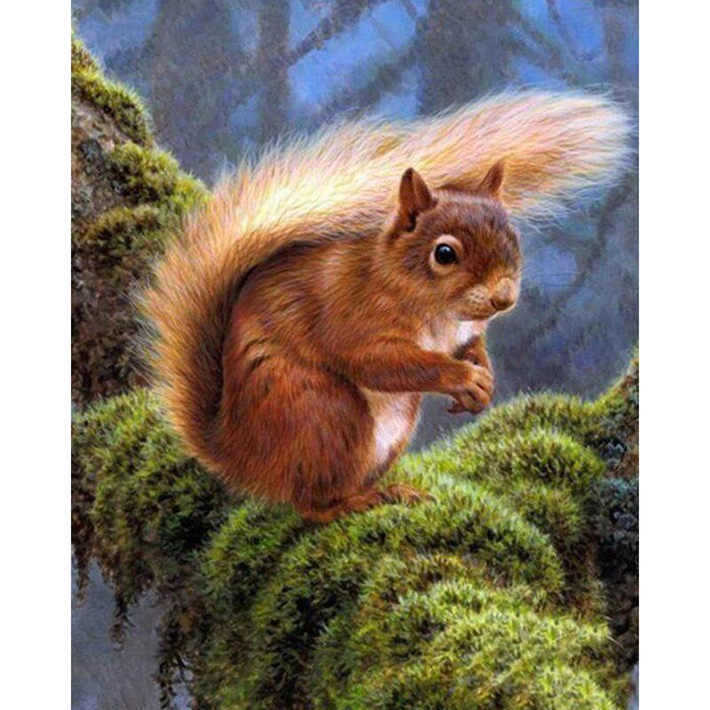 5D Diamond Painting Animal Squirrel Flower Full Drill Embroidery Cross Stitch