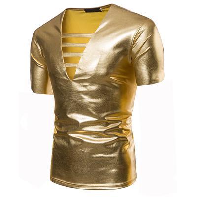 899f4480f317e Мужская полая V-образным вырезом горячая Золотая футболка с коротким  рукавом. Цена 16 $