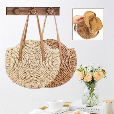 Designer Handmade Women Bamboo Beach Bag Round Straw Handbag Hollow Rattan Bag Lady Tote Holiday Travel