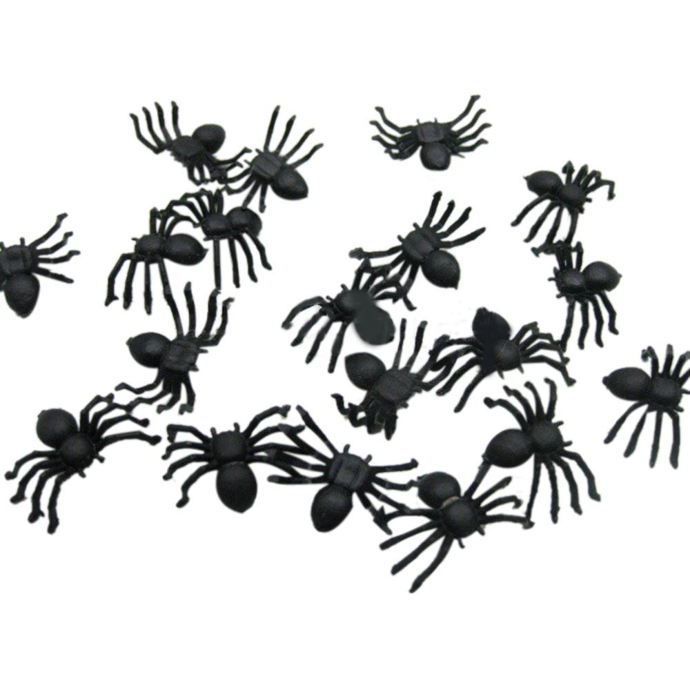 100pcs Halloween Decorations Spooky Scary Horror Black Plastic Spiders Insects