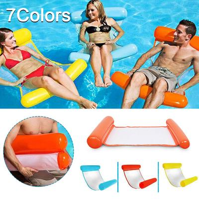 Foldable /& Easy to Carry Air Mattress Yellow White Aqua Lounger /& Floating Sleep Pillow for Swimming Pool or Beach The Season Toys Inflatable Water Hammock