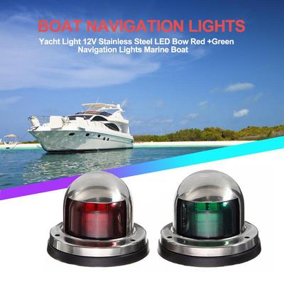 Boat Yacht Pontoon 12V Stainless Steel LED Bow Navigation Light Green/&Red