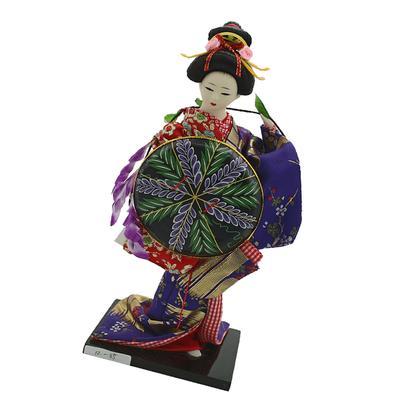 12inch Ancient Japanese Lady Figurine Geisha Doll in Blue Kimono with Fan